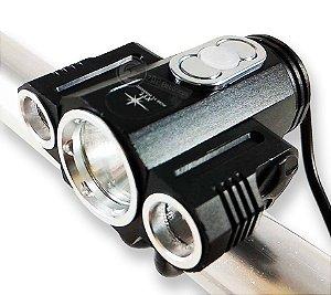 Lanterna Farol Para Bicicleta 1.250.000 Lumens 3 LEDS Reguláveis + Sinalizador Traseiro Bike
