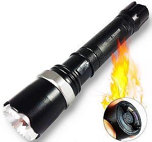 Lanterna Tática Super Potente Com Isqueiro Elétrico Acende Fogo 840.000 Lumens LED T6 Completa