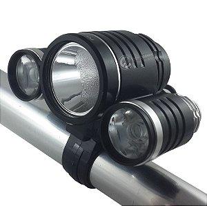 Lanterna Farol Bike Bicicleta Profissional 3 Leds 4 Baterias 192.000w 420.000 Lumens 4hs de bateria