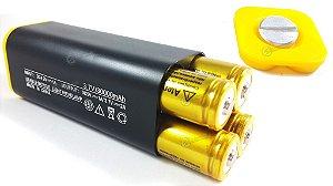 Case De Bateria Para Farol De Bike E Lanternas De Cabeça Com Saída USB para recarga de celular