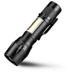 Mini Lanterna Tática Com Regulagem de Foco e Holofote Lampião Luz Lateral Recarregável USB