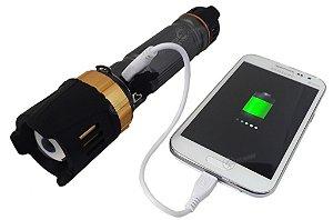Lanterna Tatica Super Potente Com Saida USB Para Recarga de Celular LED T6 Bateria Max 26650