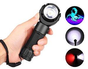 Lanterna Profissional Triple Light, Luz Negra UV Ultra Violeta, Luz Vermelha e Luz Branca, Cabeça Giratória e Imã 3.610.000 Lumens