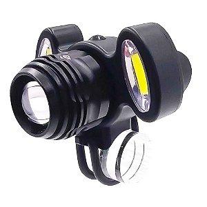 Farol para Bike Lanterna Bicicleta 3.280.000 Lumens Super Potente 3 LEDs T6 + COB Bateria Recarregável USB Regulagem Zoom