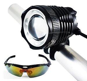 Farol Bike All Black Led T6 L2 Super Potente 5.400.000 Lumens Com Óculos para Ciclismo + Sinalizador Traseiro