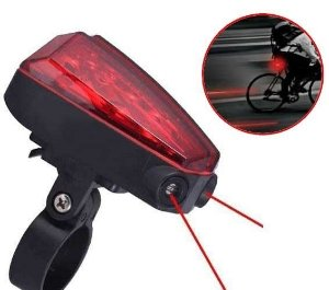 Sinalizador Traseiro Para Bicicleta com Ciclovia Virtual - Contém 5 luzes leds de sinalização e 2 laser