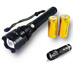 Lanterna Tática Storm II 6.200.000 Lumens LED XML T9 Super Potente + Brinde Mini Lanterna Tática