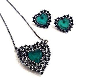 Conjunto Coração - Esmeralda com Negro
