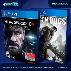 Metal Gear Solid V + Watch Dogs Ps4 Mídia Digital