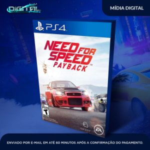 Need For Speed Payback ps4 midia digital  - Sistema Original 1 - Primária  -
