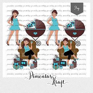 Kit Digital_Avatar_Chá de Bebê_Azul_Brunette