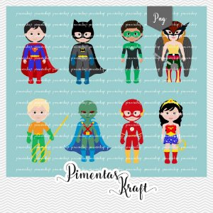 Kit Digital Clipart Liga da Justiça Cute by Elisabeth Pimenta