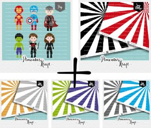 Kit Digital Clipart Os Vingadores + Kit Digital Papéis Starburst - Cores Sólidas