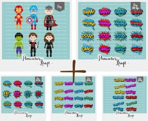 Kit Digital Clipart Os Vingadores + Kit Digital Clipart Balões de Texto Heróis