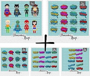 Kit Digital Clipart Liga da Justiça Cute  + Kit Digital Clipart Balões de texto - Heróis