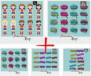 Kit Digital Clipart Mulher Maravilha Cute +  Kit Digital Clipart Balões de Texto - Heróis