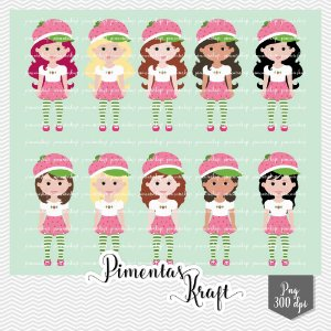 Kit Digital Clipart e Papel Moranguinho
