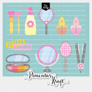 Kit Digital Clipart - Dia de Beleza Spa - Acessórios - Amelie