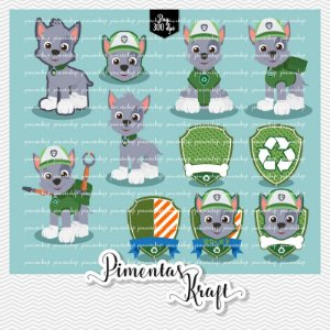 Kit Digital Clipart - Patrulha de Patinhas - ROCKY