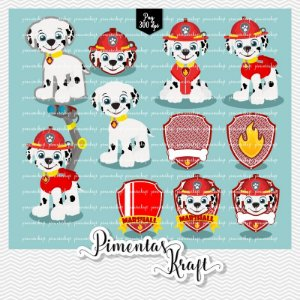 Kit Digital Clipart - Patrulha de Patinhas - MARSHALL