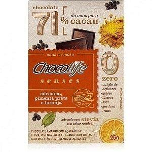 Chocolife Senses 71% Cúrcuma, Pimenta Preta e Laranja 25g