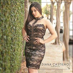 Vestido Estampas Decote Transparente Eva Bella