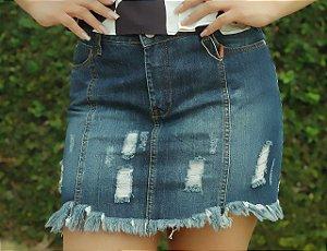 Saia jeans Bebela com detalhe rasgada