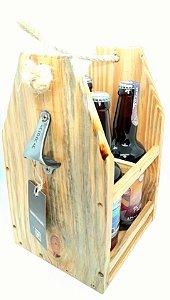 Engradado de Cerveja em Madeira Rústica com 4 Garrafas 500ml Cerveja Rural Beer´s Session Pilsen