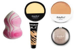 Kit base Ruby Rose L2 com + pó facial + blush + esponja
