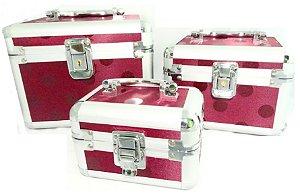 Maleta de maquiagem Rubys contendo 03 maletas