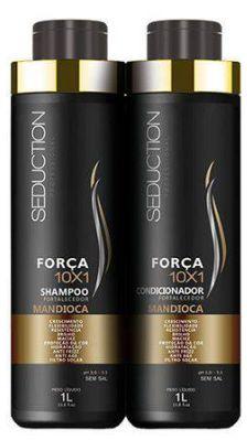 Kit Seduction 10X1 Força Shampoo + Condicionador Mandioca 1000ml