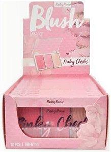 Paleta de Blush Pinky Cheeks Ruby Rose HB 6111-1 (Kit com 06 unidades) Atacado