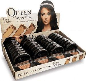 Pó compacto facial cores claras Queen Atacado Kit com 32 peças