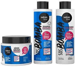 Kit Sos Bomba Shampoo Condicionador Máscara Salon Line