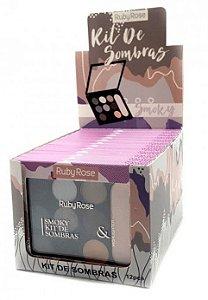 Paleta de Sombras e Iluminador Smoky Ruby Rose Atacado Kit com 12 peças