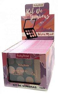 Paleta de Sombras e Iluminador Warm Mood Ruby Rose Atacado Kit com 12 peças