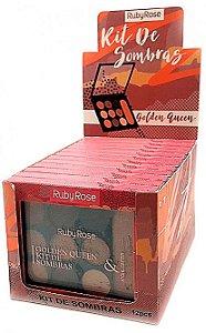 Paleta de Sombras e Iluminador Golden Queen Ruby Rose Atacado Kit com 12 peças