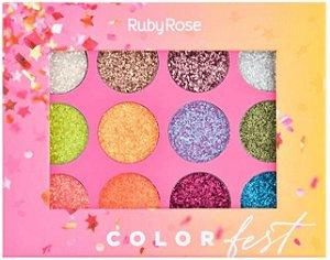 Paleta Glitter Color Fest Ruby Rose Atacado Kit com 12 peças