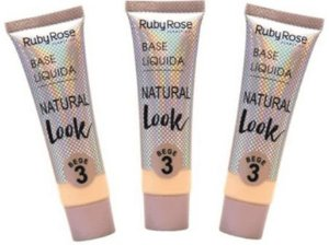 Base Natural Look Bege Cor 03 Ruby Rose Kit 03 unid