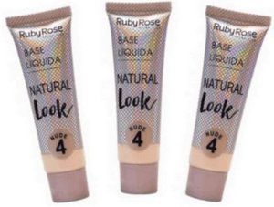 Base Natural Look Nude Cor 04 Ruby Rose Kit 03 unid