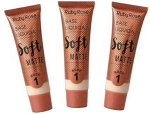 Base Soft Matte Nude Cor 01 Ruby Rose Kit 03 unid