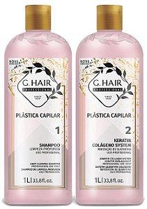 G HAIR KIT PLASTICA CAPILAR 2 PASSOS SHAMPOO+KERATINA 1LITRO