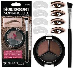 Kit Delineador de Sobrancelhas 3 Cores e 3 Moldes Bella Femme