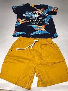 Conjunto Camiseta com Bermuda Sarja