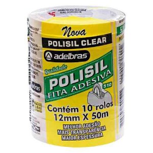 FITA POLISIL CLEAR 12MM X 50M  - PCT COM 10 ROLOS