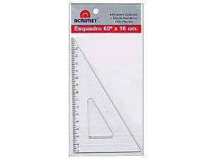 ESQUADRO 60º COM 16 CM - CRISTAL - BLISTER COM 1 UN