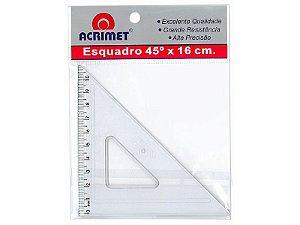 ESQUADRO 45º COM 16 CM - CRISTAL - BLISTER COM 1 UN