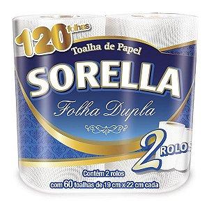 PAPEL TOALHA SORELLA FOLHA DUPLA 60 TOALHAS PCT C/2 ROLOS