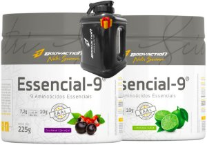 Kit 2x Essencial 9 - Eaa Aminoácidos Essenciais 225g - Bodyaction