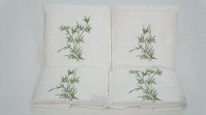 Jogo de toalha com aplique Percal 200 Fios Importado Bordado Bambu – Enxovart